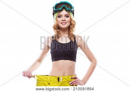 Girl In Yellow Big Trousert And Ski Glasses