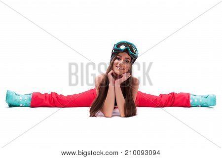 Beauty Girl In Ski Suit Do The Splits
