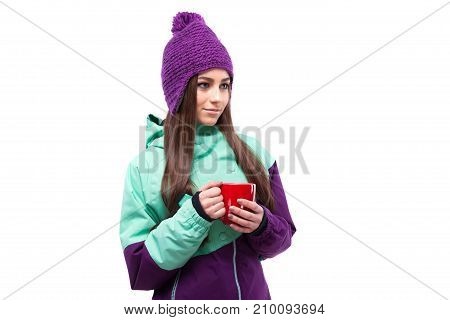 Young Pretty Woman In Purple Ski Coat Hold Cup