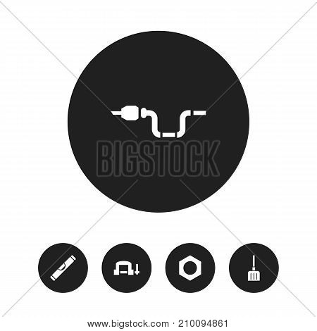 Set Of 5 Editable Apparatus Icons. Includes Symbols Such As Digging, Internal Screw, Clamp And More