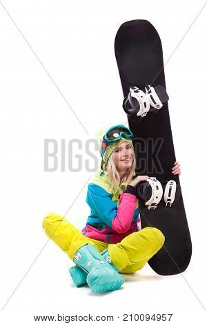 Pretty Young Woman In Ski Outfit Hold Snowboard