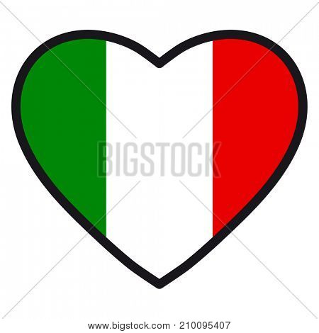 Flag of Italy in the shape of Heart with contrasting contour, symbol of love for his country, patriotism, icon for Independence Day.