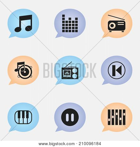 Set Of 9 Editable Audio Icons. Includes Symbols Such As Piano, Pause, Music And More