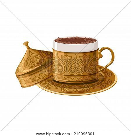 Turkish traditional decorated copper coffee cup isolated on white background. Turkish antique utensils series, part 2 of 5. Cartoon vector illustration in flat style.