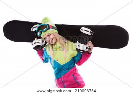 Beauty Young Woman In Ski Suit And Ski Glasses Hold Snowboard