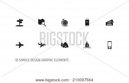 Set Of 10 Editable Travel Icons. Includes Symbols Such As Plane, Mobile Phone, Coupon And More