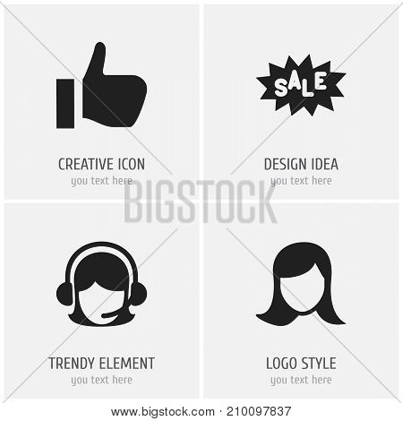 Set Of 4 Editable Business Icons. Includes Symbols Such As Discount Tag, Lady Aspect, Receptionist And More
