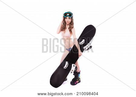 Pretty Sexy Woman In Pink Bikini And Sunglasses Hold Black Snowboard