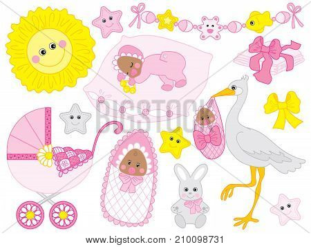 Vector set for baby girl shower. Set includes cute African American baby girl, stroller, stork,  sun, diapers  and toys. Vector baby girl shower. African American baby girl Vector illustration
