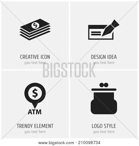 Set Of 4 Editable Financial Icons. Includes Symbols Such As Salary, Pouch, Automatic Teller Machine And More