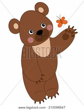 Vector cute cartoon brown bear with butterfly. Vector bear cub. Bear vector illustration