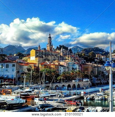 Yachts and boats in the harbour of Menton French Riviera cote d'azur Provence France