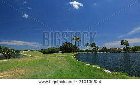 Amazing natute landscape with two lakes on Aruba island