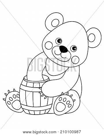 Vector black and white cute cartoon bear with barrel of honey. Vector bear cub. Bear vector illustration