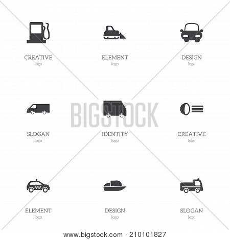 Set Of 9 Editable Transportation Icons. Includes Symbols Such As Automotive, Fuel, Cab And More
