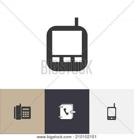 Set Of 4 Editable Phone Icons. Includes Symbols Such As Address Notebook, Radio Talkie, Transceiver And More