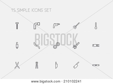Set Of 15 Editable Apparatus Outline Icons. Includes Symbols Such As Cogwheel, Hook, Knife And More