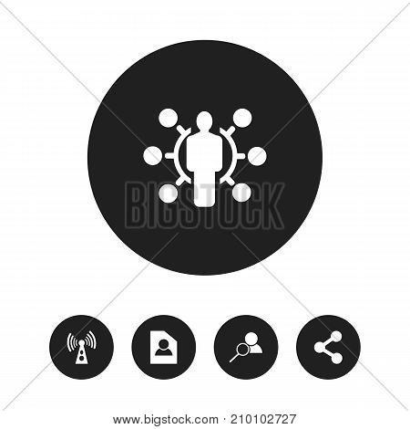 Set Of 5 Editable Web Icons. Includes Symbols Such As Wireless Transmission, Magnifier, Skill And More