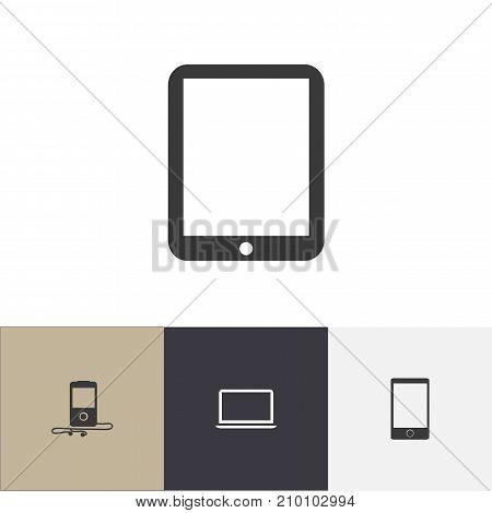 Set Of 4 Editable Devices Icons. Includes Symbols Such As Mp3 Player, Notebook, Telephone And More