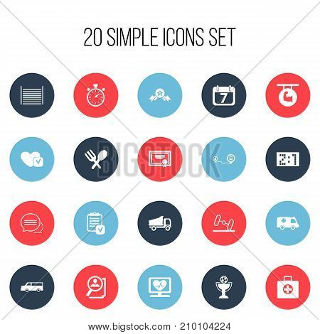 Set Of 20 Editable Complicated Icons. Includes Symbols Such As Award, Questionnaire, Date Block And More