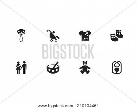 Set Of 8 Editable Baby Icons. Includes Symbols Such As Rattle, Teddy, Lineage And More