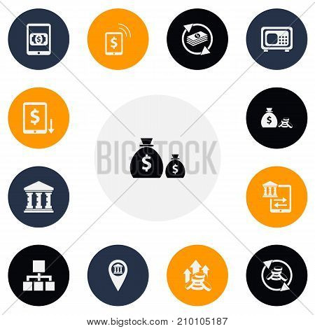Set Of 13 Editable Investment Icons. Includes Symbols Such As Academy, Money Flow, Increase And More