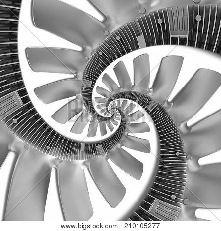 Isolated on black abstract spiral fractal made of truck engine silver air screw. Spiral background pattern. Automotive parts details pattern background. Spiral fractal effect. Truck diesel engine fan