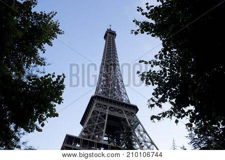 Metal Eiffel Tower Between Leaves, Paris, France