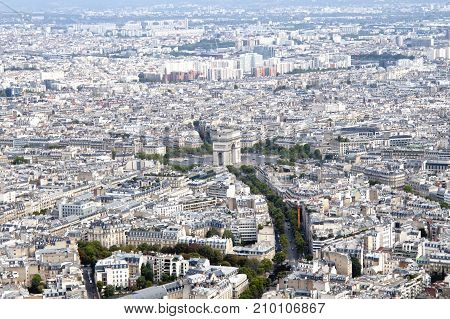 Triumphal Arch And Streets From An Aerial View, France
