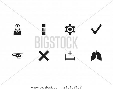 Set Of 8 Editable Hospital Icons. Includes Symbols Such As Mark, Hospital Assistant, Wound Band