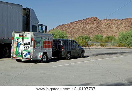 PHOENIX AZ - OCTOBER 04: U-Haul truck parked in roadside stop off highway Phoenix Arizona 2013