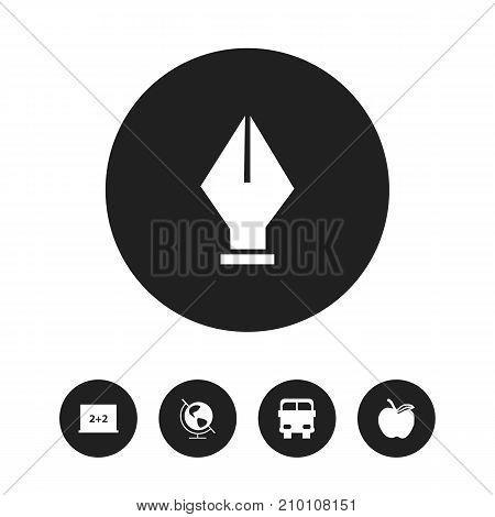 Set Of 5 Editable Education Icons. Includes Symbols Such As Nib, Writing Board, Earth Planet And More