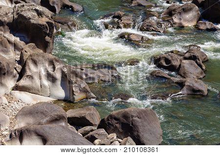 Smooth rocks eroded by the South Esk River in Cataract Gorge - Launceston, Tasmania, Australia