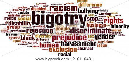 Bigotry word cloud concept. Vector illustration on white
