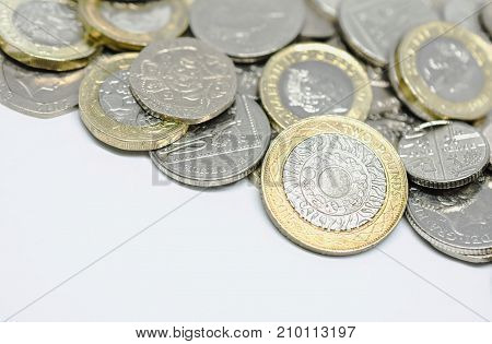Close Up Study of Scattered British Coins
