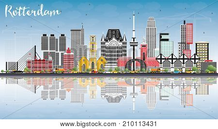Rotterdam Netherlands Skyline with Gray Buildings, Blue Sky and Reflections. Business Travel and Tourism Concept with Modern Architecture.