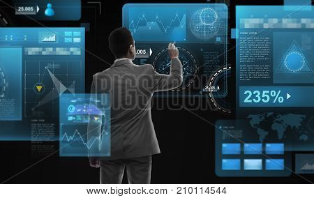 business, people, big data and technology concept - businessman with marker and virtual screen from back over black background