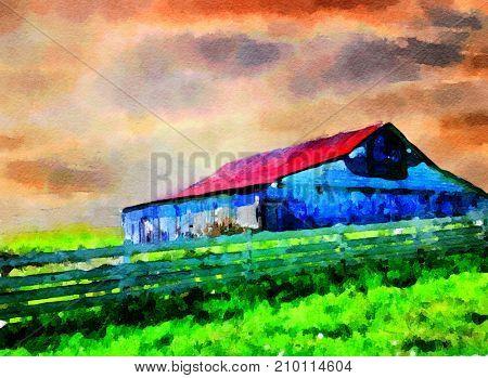 Beautiful Watercolor Painting of a Beautiful Farm In Kentucky