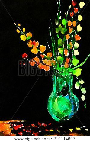 Beautiful Vase On Black with Flowers In Watercolor