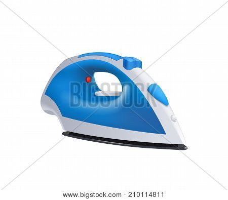 illustration of blue and white color realistic iron isolated on white background