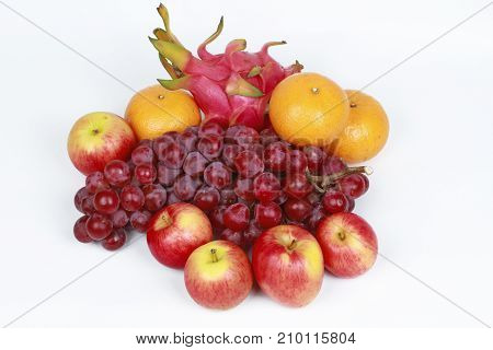 Mixed Fruits As Red Seedless Grapes,orange,apple,dragon Fruit,japanese Golden Melon.
