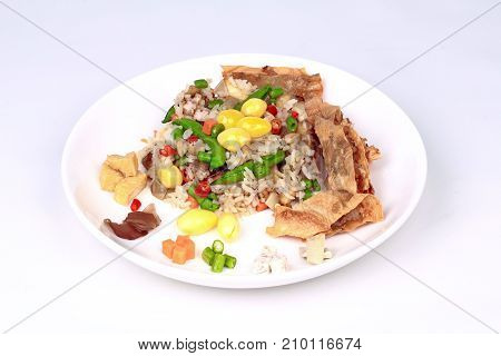 Colorful Fried  Rice With Mixed Vegetable  Served