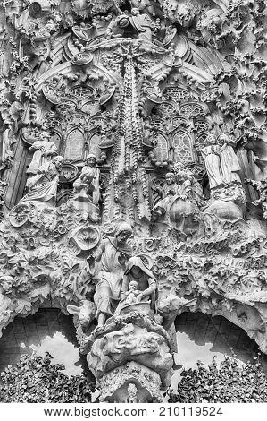 Detail Of The Nativity Facade, Sagrada Familia, Barcelona, Catalonia, Spain