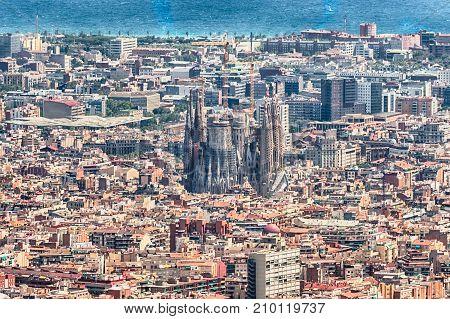 Scenic Aerial View Of The Sagrada Familia, Barcelona, Catalonia, Spain