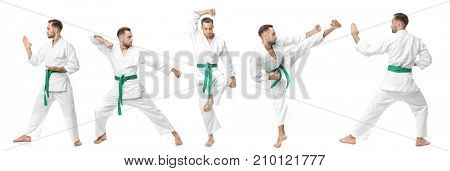 Collage with young man practising karate on white background