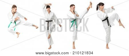 Collage with young people practising karate on white background
