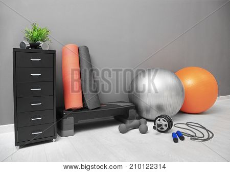 Different physiotherapy equipment in room