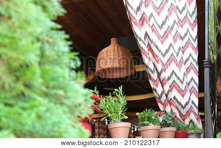 Open air cafe with curtain