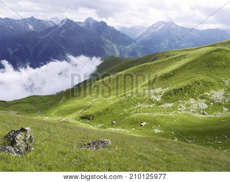 Highland alpine meadows of green grass with some flowers and rocks. The sun have come out but the gloomy clouds still cover the faraway sharp-ended mountains. Natural reservation in Caucasus.