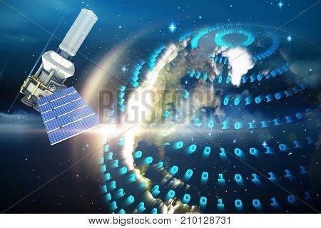 3d illustration of modern solar power satellite  against glowing earth